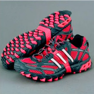 Adidasのピンクとグレーのミックスカラーのトレランシューズ