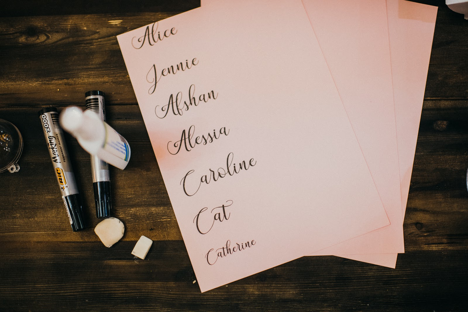 A pink paper with names on for personalised bauble making
