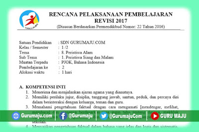 RPP Kelas 1 Tema 8 Kurikulum 2013 Revisi Tahun 2019