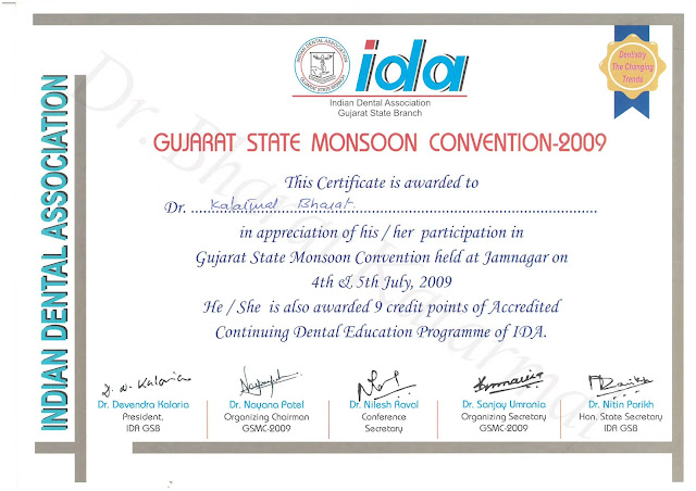 Certificate Awarded to Dr. Bharat Katarmal for attending Gujarat State Monsoon Convention 2009