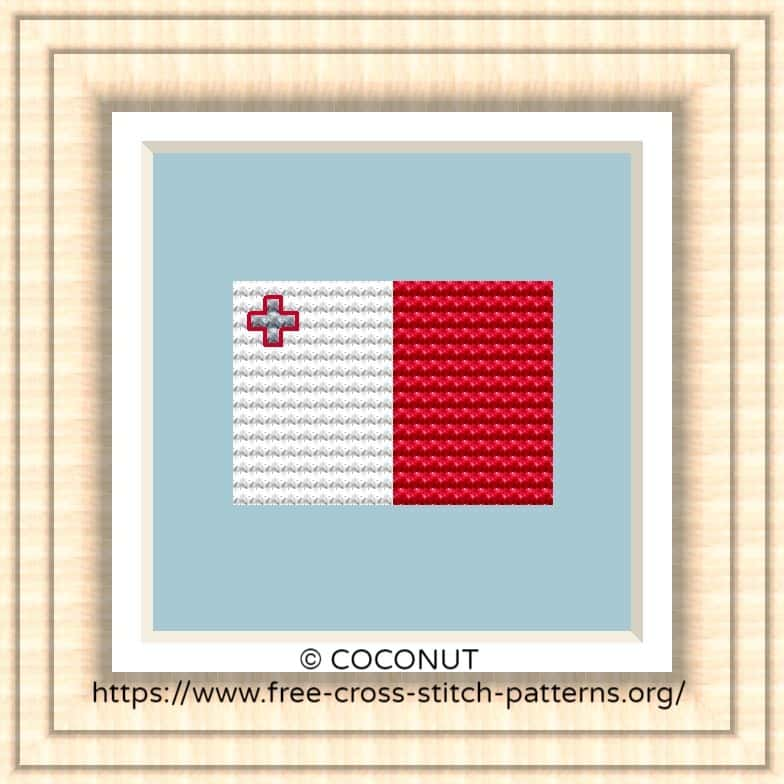 NATIONAL FLAG OF MALTA CROSS STITCH CHART