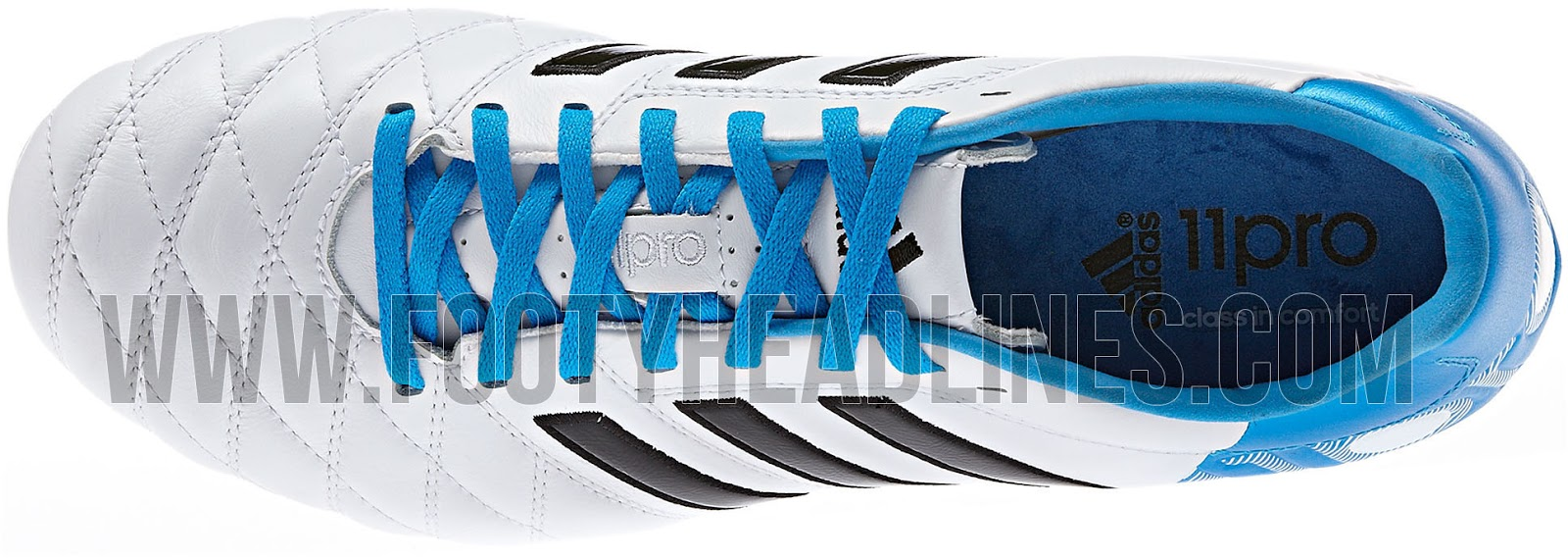 wholesale dealer f6cc8 54dbe Hot Sale White  Sky Blue Adidas Adipure 11pro II Boot Released