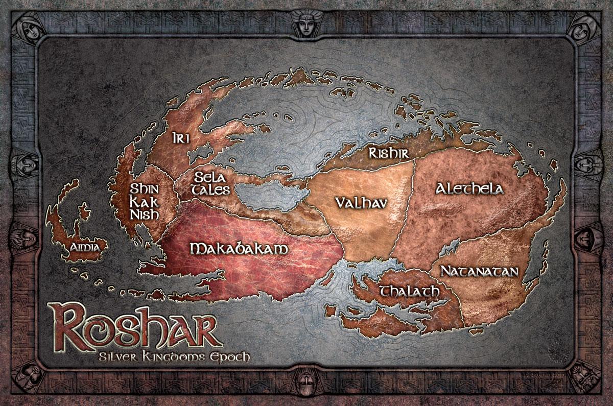 Otro de los mapas que podemos disfrutar en El camino de los reyes es del  reino de Alezkar, realizado por los cartografos del rey Gavilar.