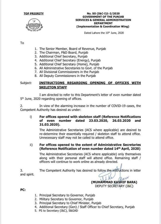 INSTRUCTIONS REGARDING OPENING OF OFFICES WITH SKELETON STAFF IN PUNJAB