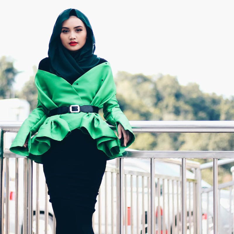 Brunei Blogger Bash Harry of Hey Bash in Bandar Seri Begawan wearing Arared Monica Top in Emerald Green, in this Wicked Witch inspired outfit of the day