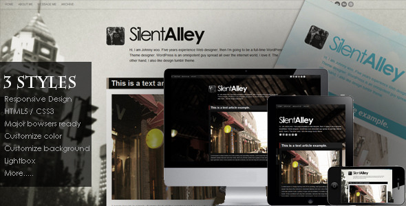 Silent Alley v1.3 – Responsive Multi-Color Tumblr Theme