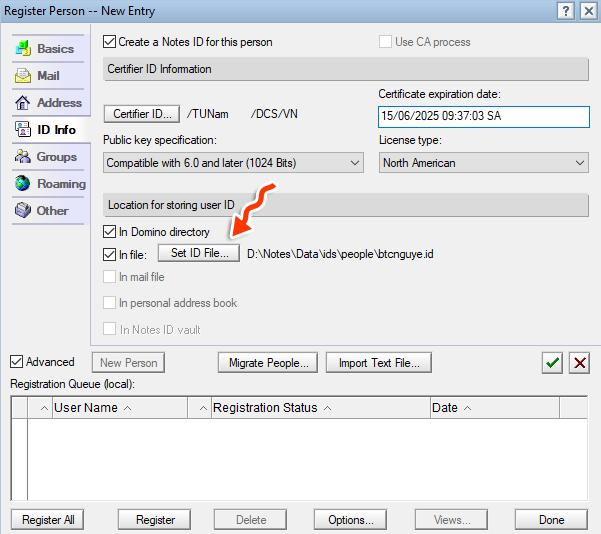 Tạo id người dùng mới trong Lotus Notes 8.5