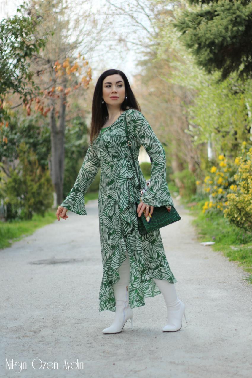 alışveriş-Yeşil Fırfırlı Elbise-moda blogu-fashion blogger