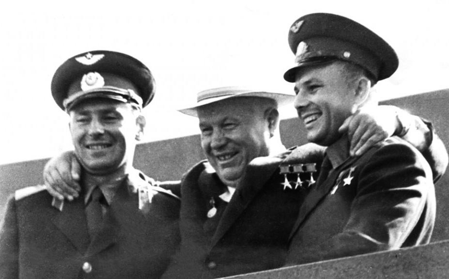 Gherman Titov, Nikita Khrushchev and Yuri Gagarin