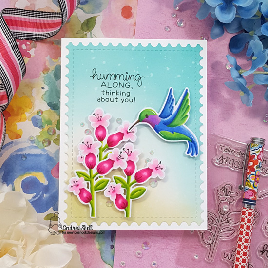 Hummingbird Card by Andrea Shell | Hummingbird Stamp Set and Framework Die Set by Newton's Nook Designs #newtonsnook #handmade