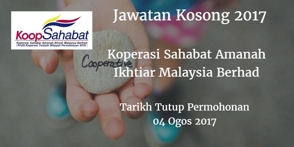 Jawatan Kosong Koperasi Sahabat Amanah Ikhtiar Malaysia Berhad 04 Ogos 2017