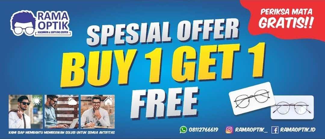 Promo Buy 1 Get 1 Rama Optik Pusat Kacamata dan Softlens Rembang