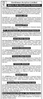 Vardhman Acrylics Ltd  Recruitment For 10th & 12th Pass, BSC ITI -Fitter, Diesel Mechanic, Electrician, Machinist, Instrumentation, REM, AOCP Trades Candidates