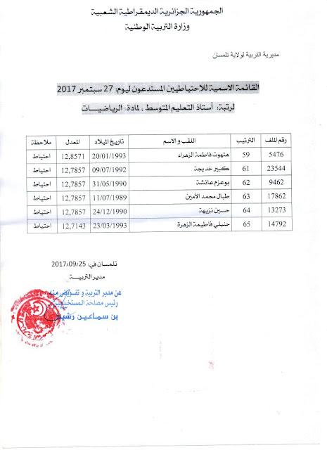 قائمة الاحتياطيين المستدعين رتبة أستاذ التعليم المتوسط 2017 تلمســـــان