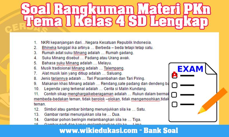 Soal Rangkuman Materi PKn Tema 1 Kelas 4 SD Lengkap