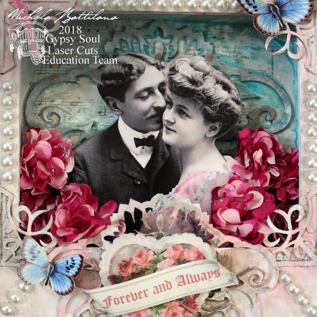 Romantic shadowbox by Nichola Battilana with tutorial