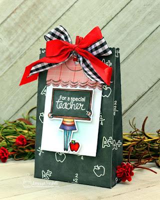 Teacher Gift Bag by Larissa Heskett   Classy Teachers Stamp Set and Fancy Edges Tag Die Set by Newton's Nook Designs #newtonsnook #handmade