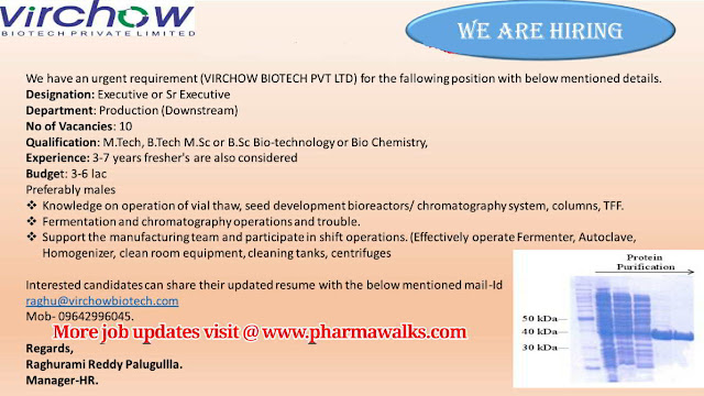 Virchow Biotech urgent openings for Freshers and Experienced candidates in Production department