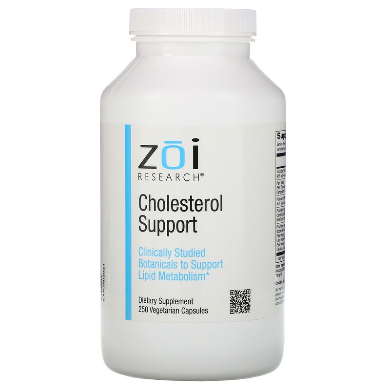 ZOI Research, Поддержка уровня холестерина, 250 растительных капсул