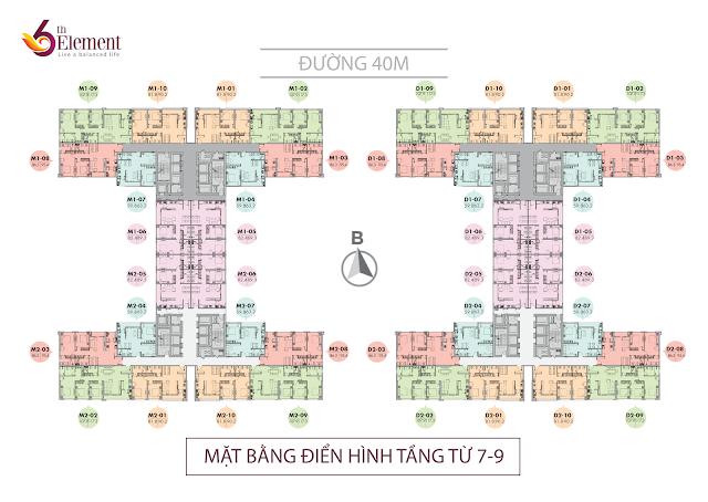 Mặt bằng tầng điển hình tầng 7 đến tầng 9 Chung cư 6th element