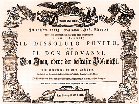 Playbill for the Vienna premiere of Mozart's Don Giovanni in 1788