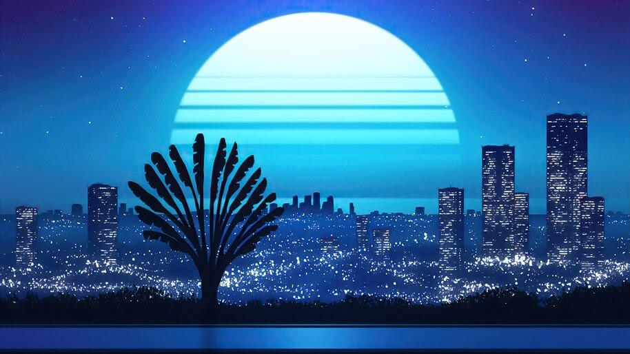 Night, City, Moon, Digital Art, Minimalist, 4K, #6.2506