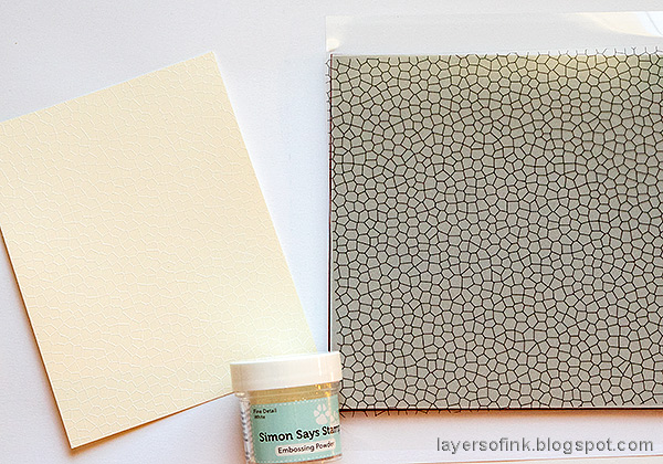 Layers of ink - Shiny Autumn Card Tutorial by Anna-Karin Evaldsson. White emboss the Stained Glass Background.