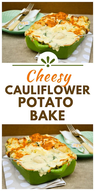 Cauliflower potato bake with spinach, topped with mozzarella and based until golden