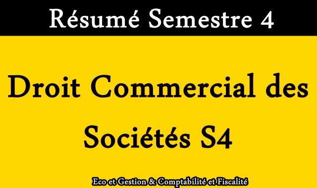 Résumé Droit Commercial des Sociétés S4