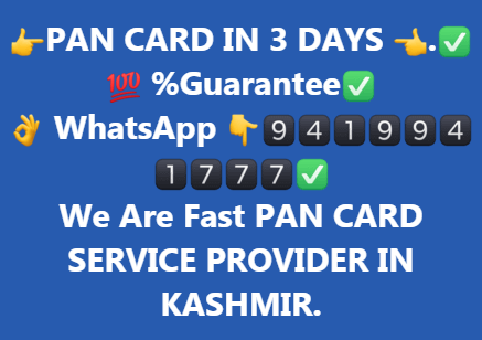 PAN CARD IN 3 DAYS APPLY NOW FROM US . FAST PAN CARD SERVICE IN JAMMU AND KASHMIR