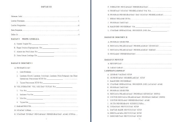 Contoh Dokumen KTSP Madrasah Tahun 2020/2021 tingkat RA