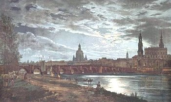 Dresden um 1820 - Johan Christian Clausen Dahl: Blick auf Dresden bei Vollmondschein