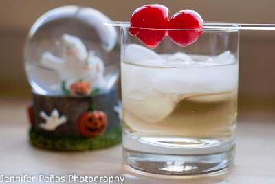 Halloween cocktail, marshmallow vodka, sprite, lemon-lime soda, cream soda