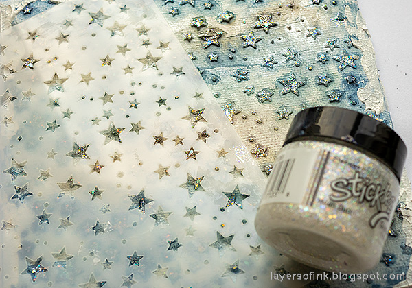 Layers of ink - Starry Sky Background Mixed Media Canvas by Anna-Karin Evaldsson. Add Stickles glitter gel.