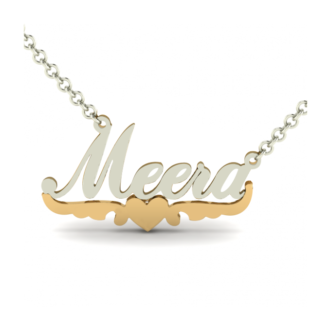 Dazzling Personalized Bling Name Necklace With Flying Heart