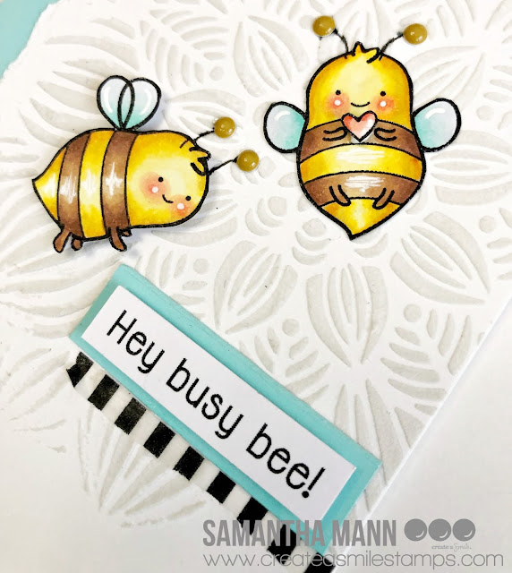 Hey Busy Bee Card by Samantha Mann for Create a Smile Stamps, Stencil, Copic Markers, Bees, handmade cards, #createasmile #stamps #stencil #cards #bees