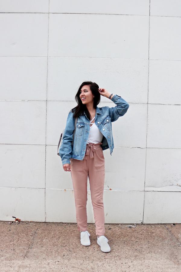 Blush Pink Pants, Denim Jacket, White Shoes, Spring Outfit