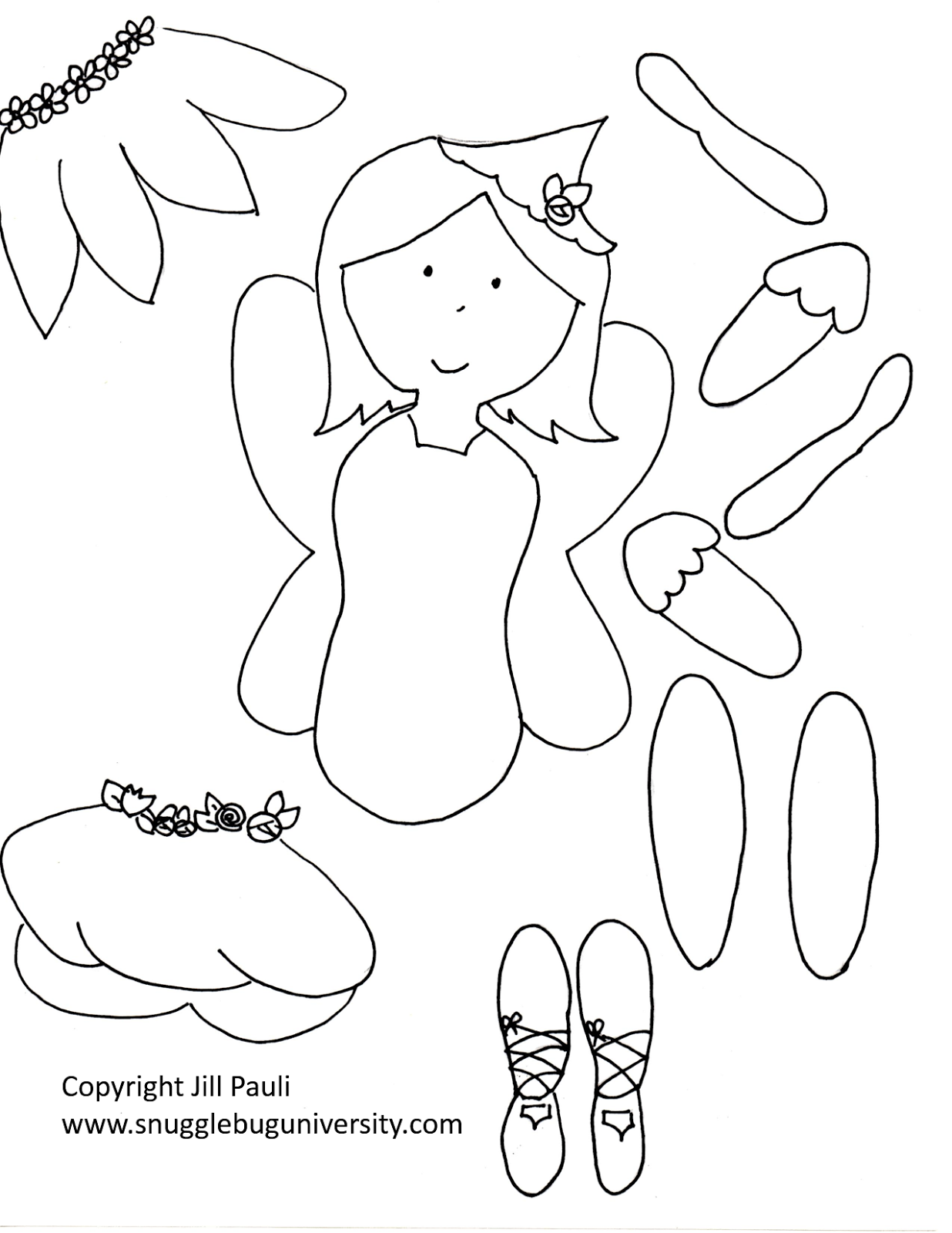 Snugglebug university make your own fairy puppets for Make a coloring page out of a photo