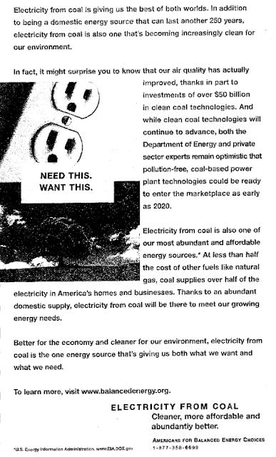 """Une publicité de 2003 annonce """"une centrale à charbon zéro-pollution sur le marché dès 2020"""""""