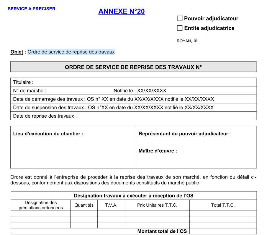 Assez Exemple modèle ordre de service de reprise des travaux en document  MX24