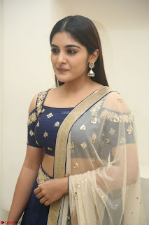 Niveda Thomas in Lovely Blue Cold Shoulder Ghagra Choli Transparent Chunni ~  Exclusive Celebrities Galleries 021