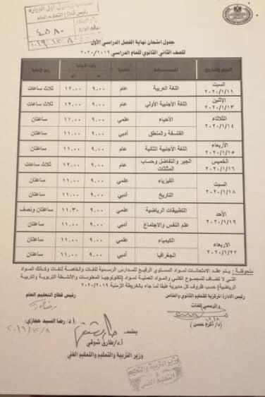 جداول إمتحانات محافظة الاسكندرية الترم الاول 2020 جميع المراحل - ابتدائى واعدادى وثانوى