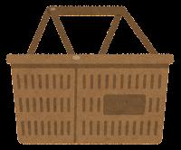 買い物かごのイラスト(茶色)