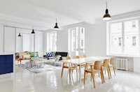 Apartment white Scandinavian dining room with minimalist design and great dining set