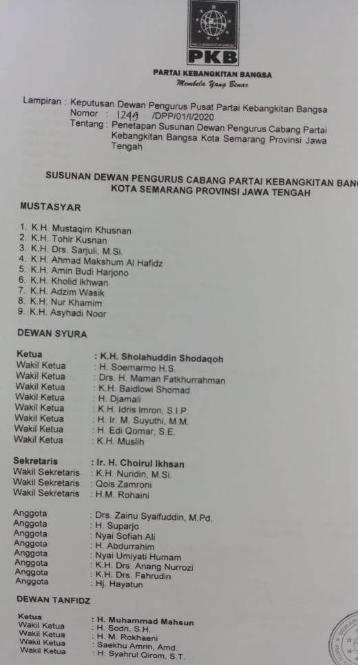 Daftar Pengurus Baru DPC PKB Kota Semarang Periode 2020-2025