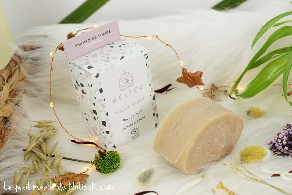 shampoing solide Bélice Matin d'été fleur de coton.