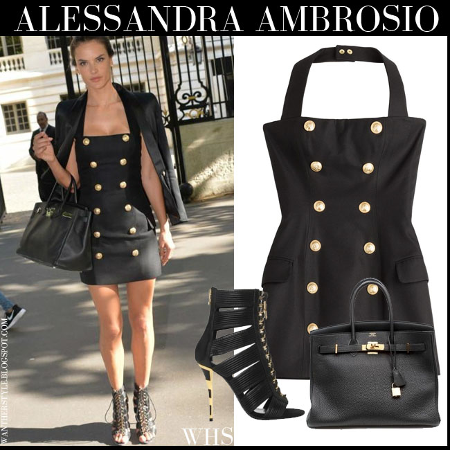 50754787d075 Alessandra Ambrosio in black gold button mini Balmain dress with strappy  ankle Balmain Hopi sandals and