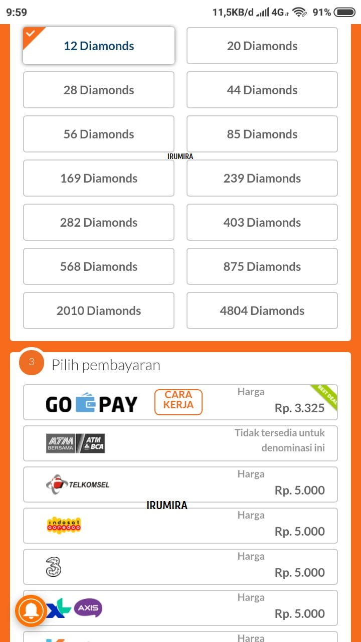 Top up ml pulsa