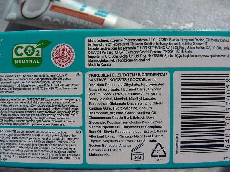 Splat BIOMED SUPERWHITE inci ingredients