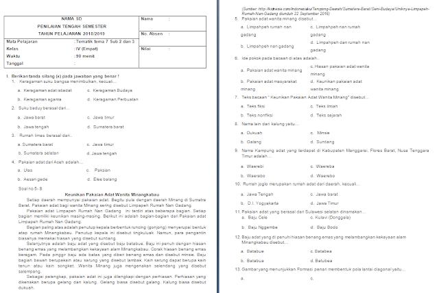Soal UTS/PTS Kelas 4 SD/MI: Tema 7 Subtema 2-3